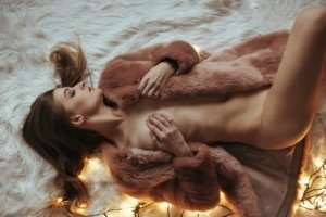 Implied Nude on Bear Fur, Model Kathi